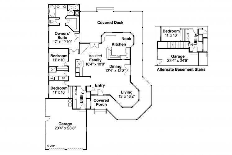 Ranch House Plan - Cortland 20057 - 1st Floor Plan
