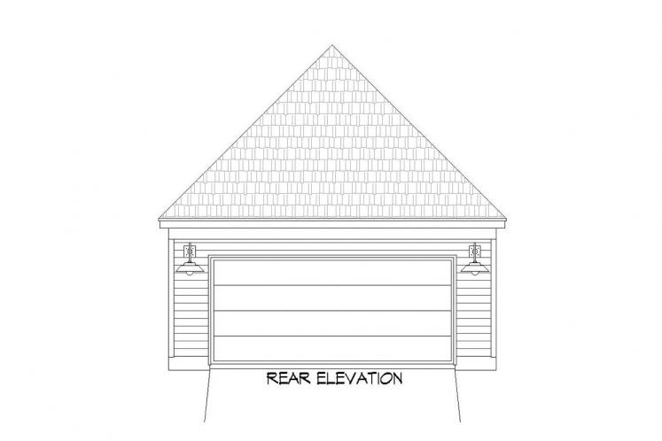 Traditional House Plan -  20627 - Rear Exterior