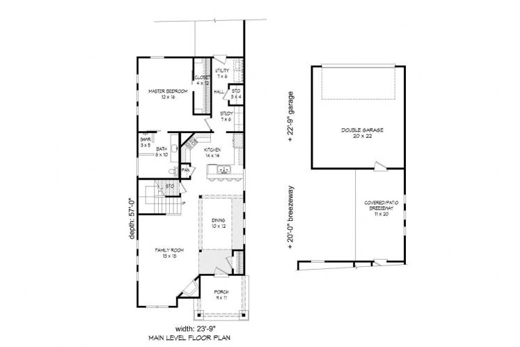 Cottage House Plan -  20627 - 1st Floor Plan