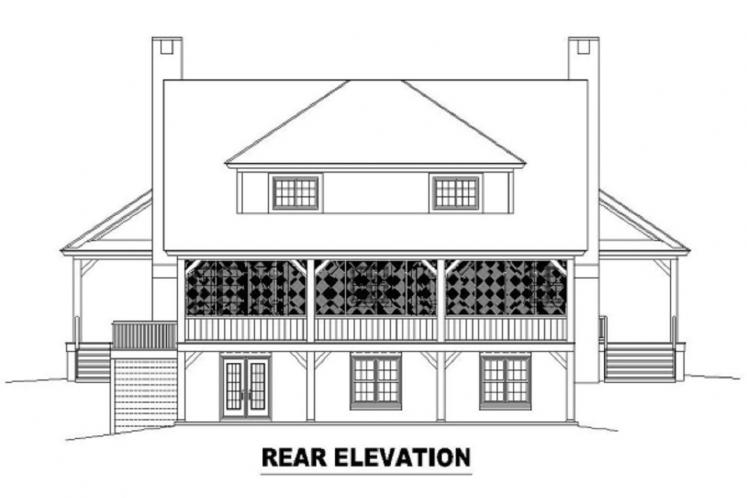 Farmhouse House Plan -  20907 - Rear Exterior