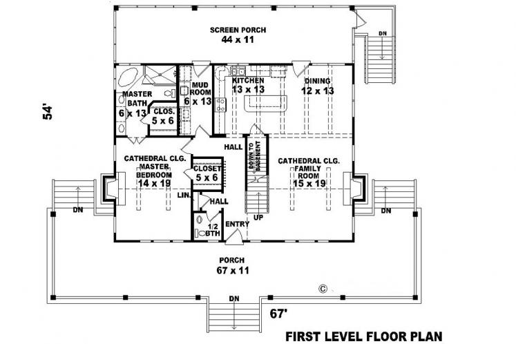 Farmhouse House Plan -  20907 - 1st Floor Plan