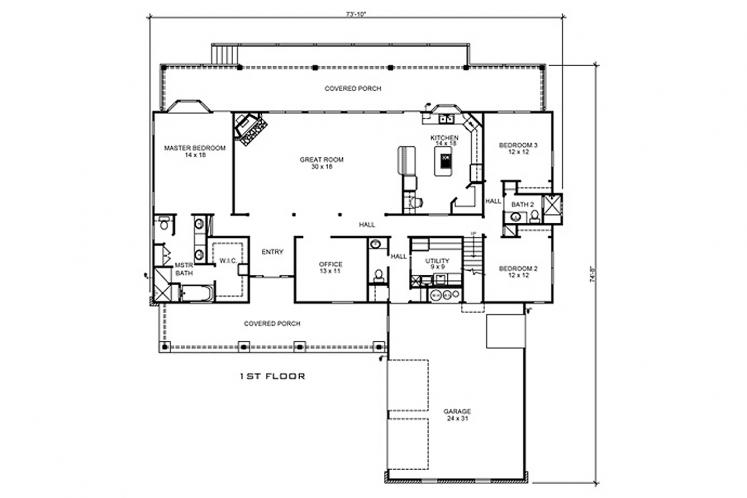 Farmhouse House Plan - Martindale 21281 - 1st Floor Plan