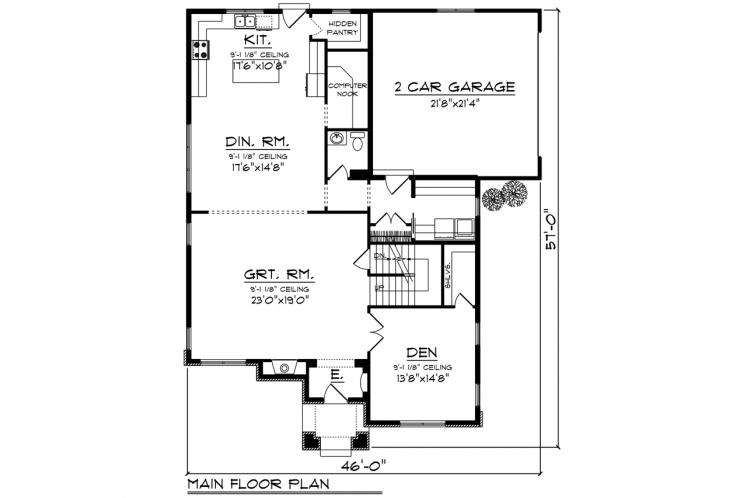 Traditional House Plan -  21482 - 1st Floor Plan
