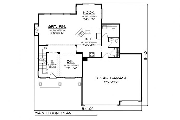 Traditional House Plan -  21514 - 1st Floor Plan
