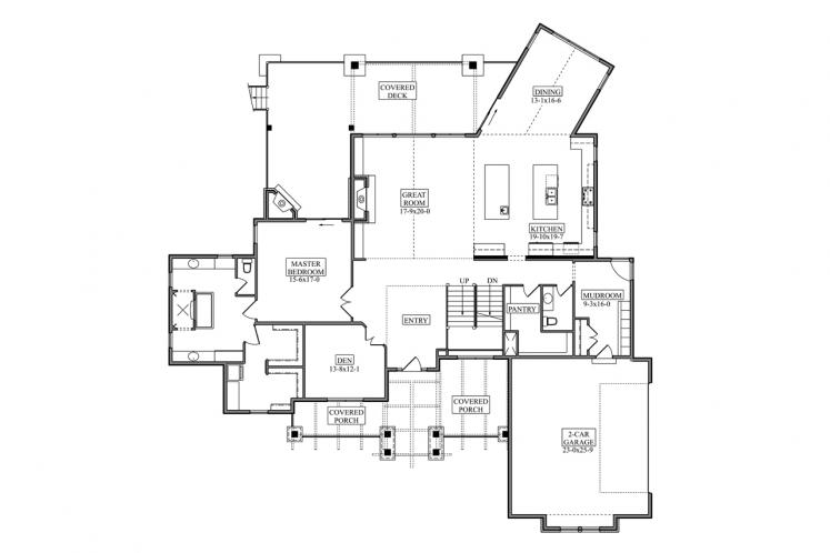 Craftsman House Plan - Mission Creek 21654 - 1st Floor Plan
