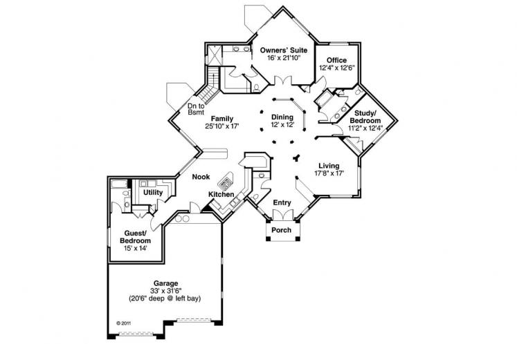Southwest House Plan - Flora Vista 21668 - 1st Floor Plan