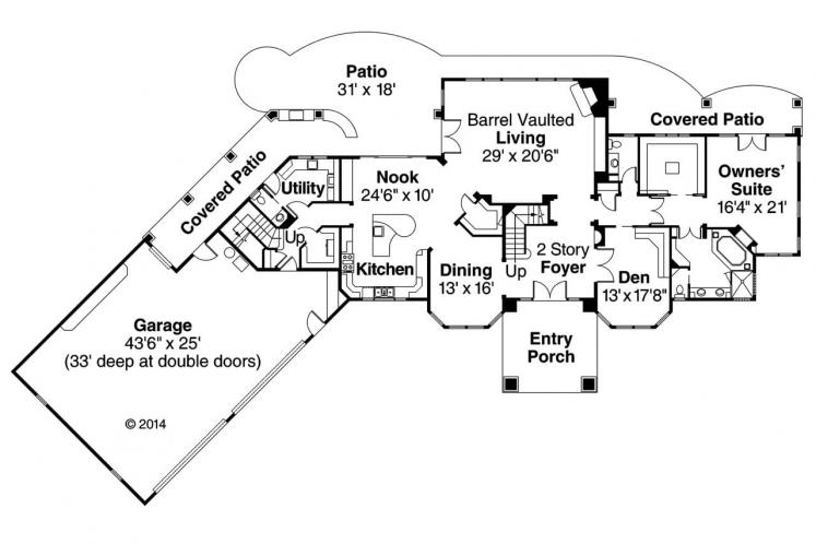 European House Plan - Jacksonville 21669 - 1st Floor Plan