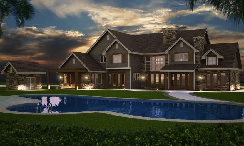 European House Plan - Shore Side 21755 - Rear Exterior