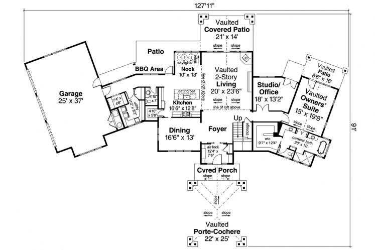 Contemporary House Plan - Patagonia 21793 - 1st Floor Plan