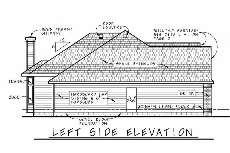 Traditional House Plan - Mansfield-II 21858 - Left Exterior