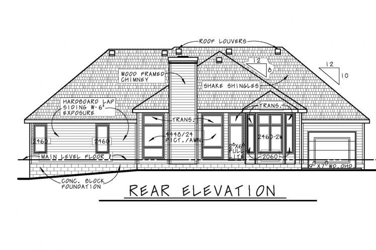 Ranch House Plan - Mansfield-II 21858 - Rear Exterior