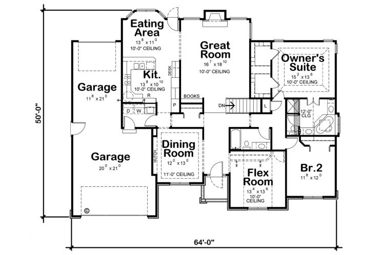 Traditional House Plan - Mansfield-II 21858 - 1st Floor Plan