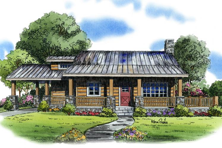 Lodge Style House Plan - Eagleview 21909 - Front Exterior