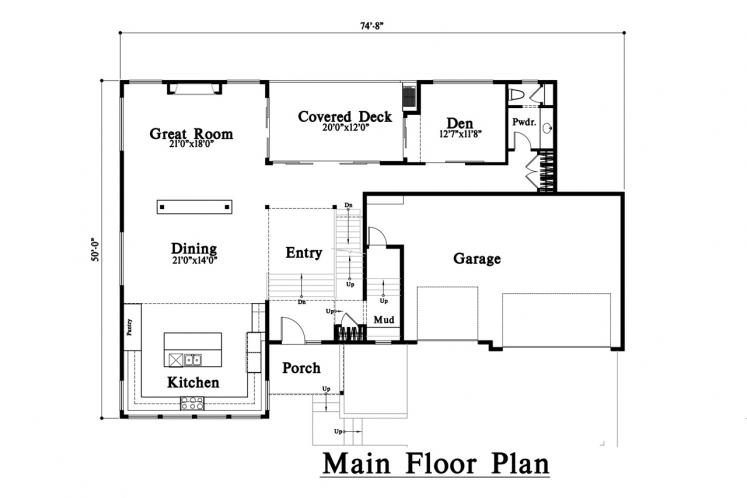 Modern House Plan -  21911 - 1st Floor Plan
