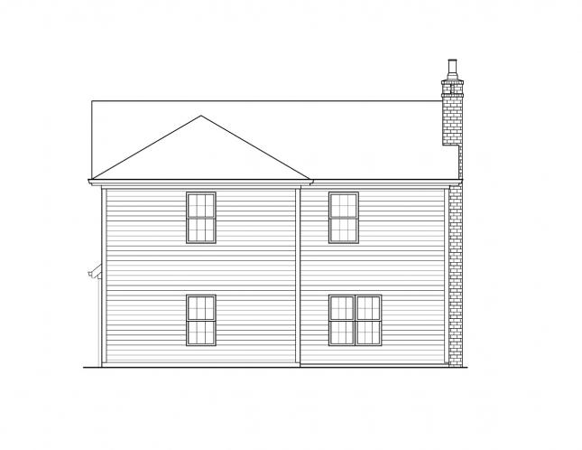 Traditional House Plan -  22054 - Rear Exterior