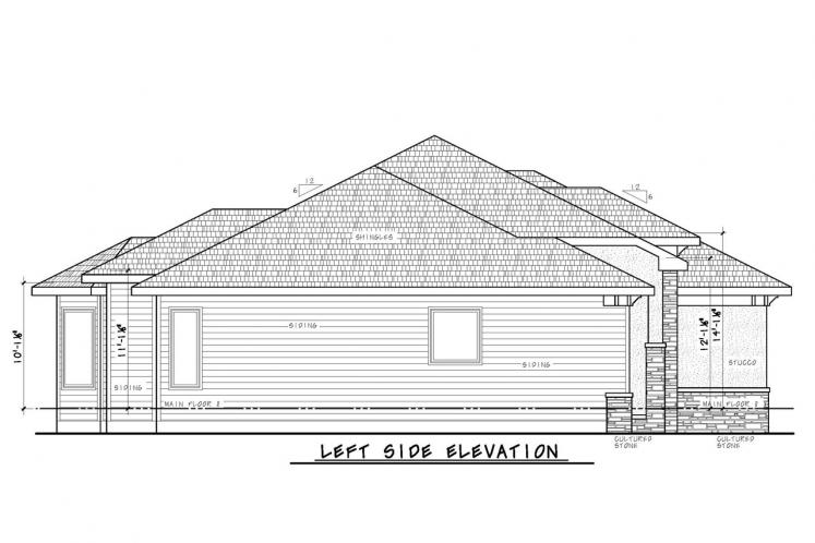 Country House Plan - Del Home 22058 - Left Exterior