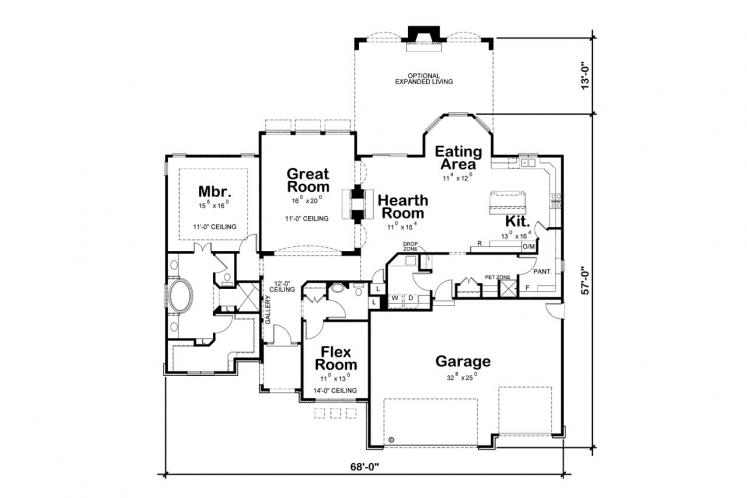 Country House Plan - Del Home 22058 - 1st Floor Plan