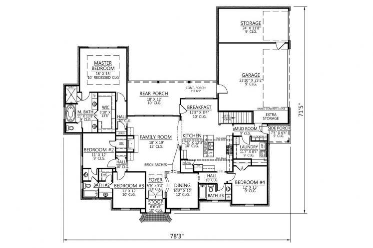 Classic House Plan - Poydras 22155 - 1st Floor Plan