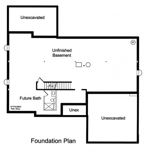 Ranch House Plan - Hillsdale 22443 - Basement Floor Plan