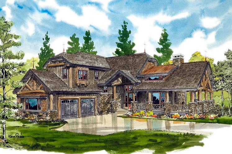 Lodge Style House Plan - Lake James 22510 - Front Exterior