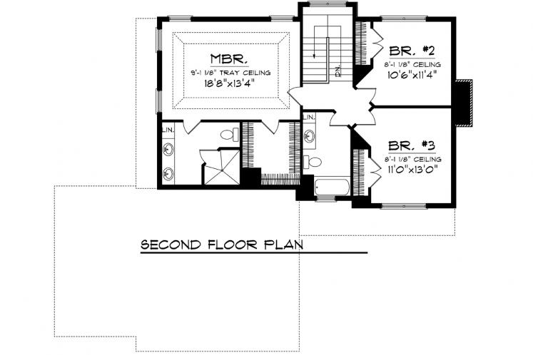 Traditional House Plan -  22654 - 2nd Floor Plan