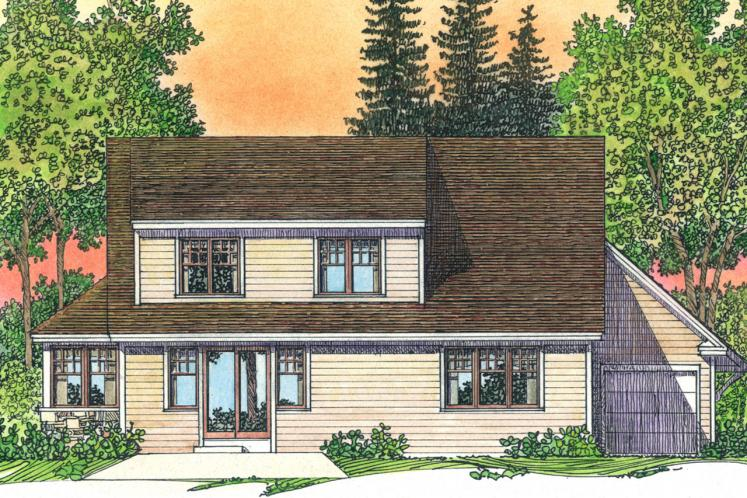 Colonial House Plan -  22657 - Rear Exterior