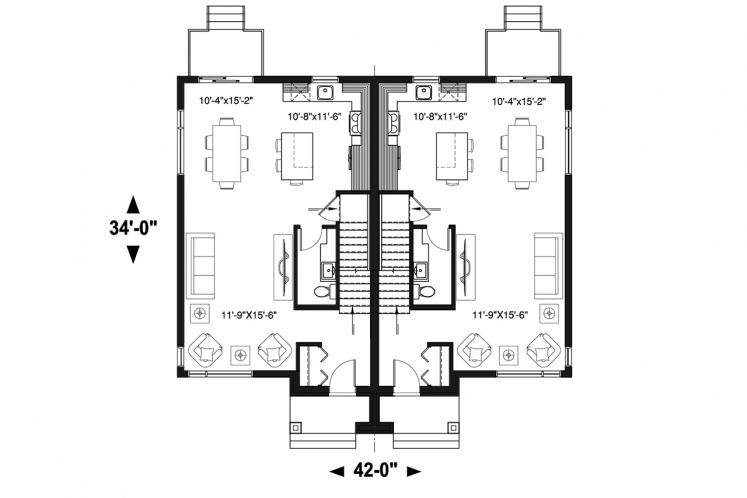 Modern Multi-family Plan - Charny 22700 - 1st Floor Plan