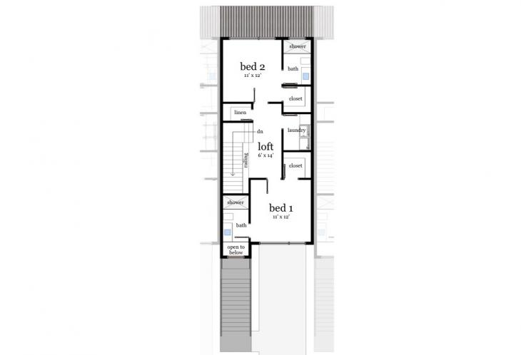 Modern Multi-family Plan - Hatteras 22708 - 2nd Floor Plan