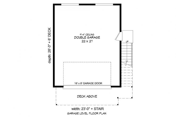 Modern Garage Plan - Deschutes River  22964 - 1st Floor Plan
