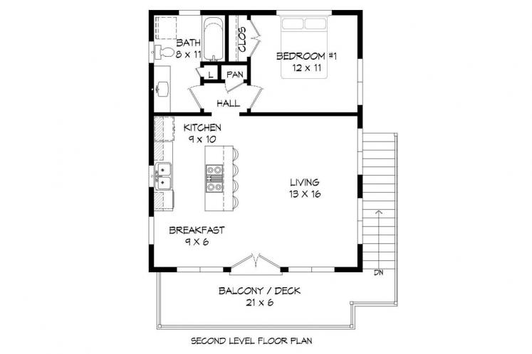 Contemporary Garage Plan - Deschutes River  22964 - 2nd Floor Plan
