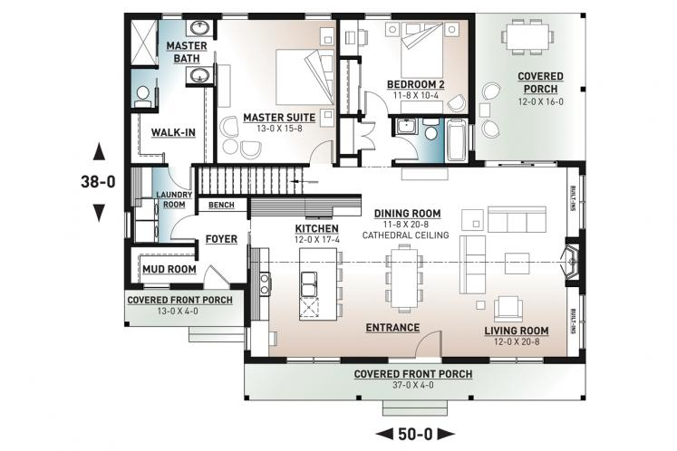 Farmhouse House Plan - Beauford 2 22987 - 1st Floor Plan