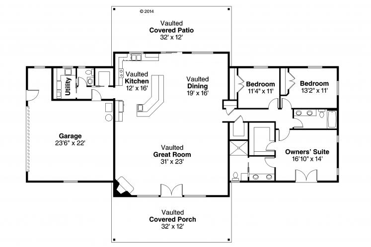 Contemporary House Plan - Anacortes 23001 - 1st Floor Plan