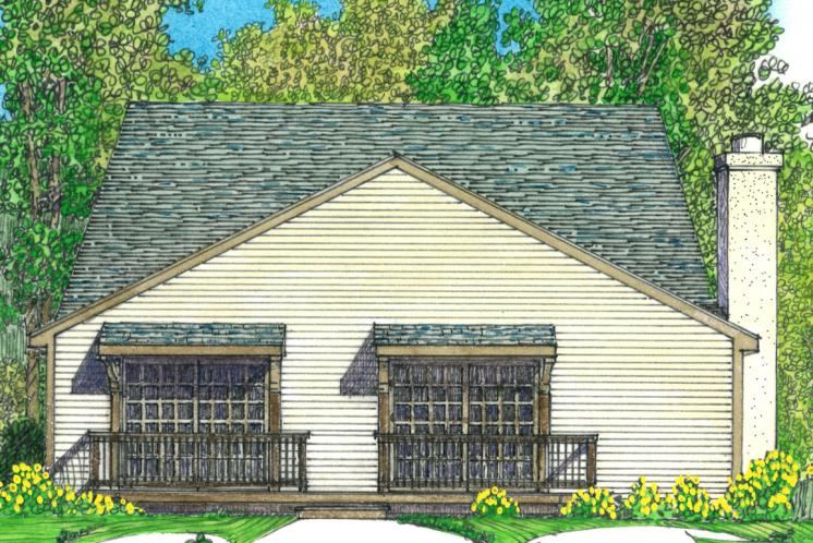 Cottage House Plan -  23075 - Rear Exterior