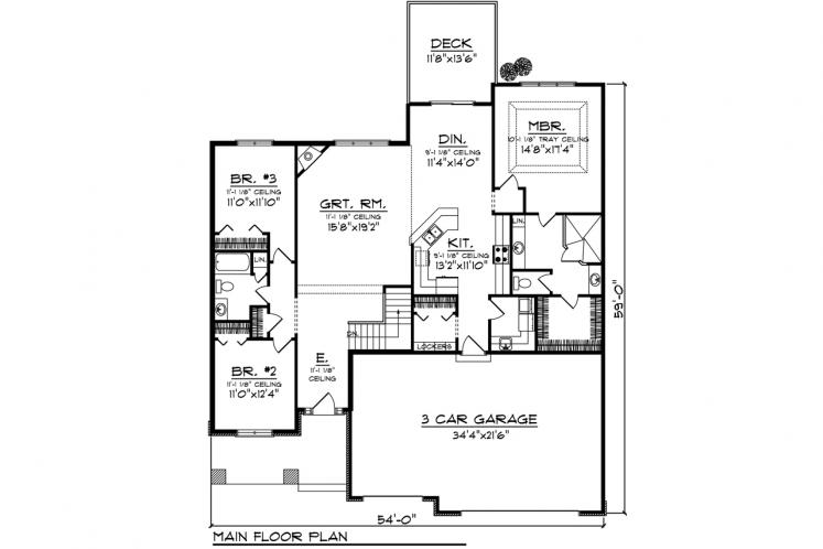 Ranch House Plan -  23108 - 1st Floor Plan