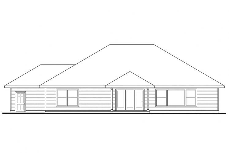 European House Plan - Green Valley 23384 - Rear Exterior
