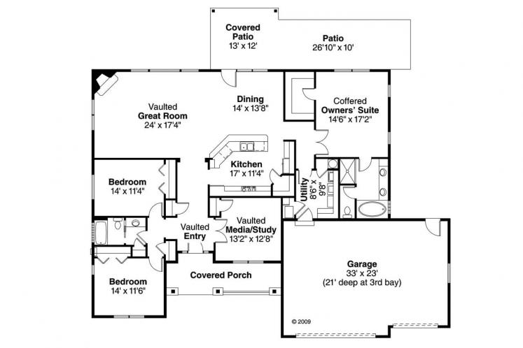 European House Plan - Green Valley 23384 - 1st Floor Plan