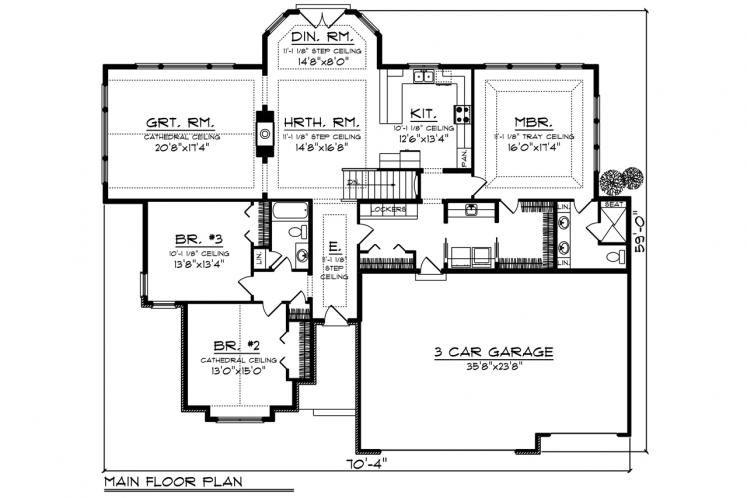 Traditional House Plan -  23545 - 1st Floor Plan