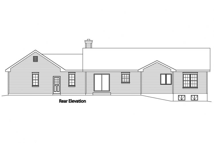 Ranch House Plan -  23572 - Rear Exterior