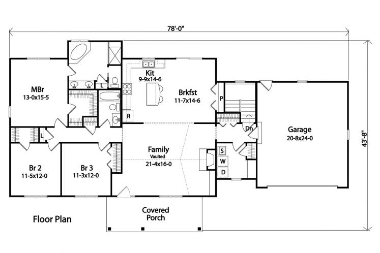 Traditional House Plan -  23572 - 1st Floor Plan