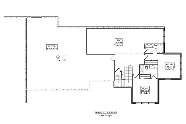 Ranch House Plan - Rivers Bend 23749 - Basement Floor Plan