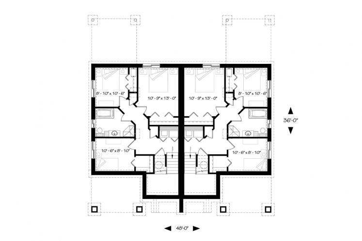 Craftsman Multi-family Plan - Aspen Lodge 23795 - Basement Floor Plan