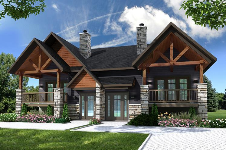 Lodge Style Multi-family Plan - Aspen Lodge 23795 - Front Exterior