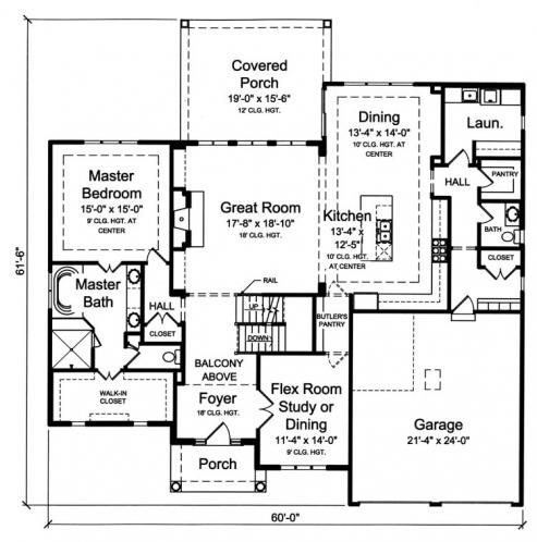 Classic House Plan - The Montpillier 24264 - 1st Floor Plan