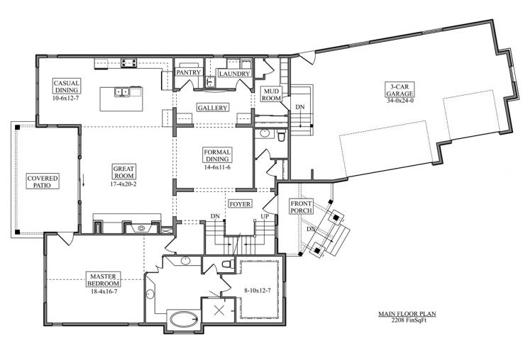 Traditional House Plan - Atwood 24293 - 1st Floor Plan