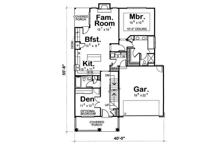 Farmhouse House Plan - Rivermonth 24527 - 1st Floor Plan