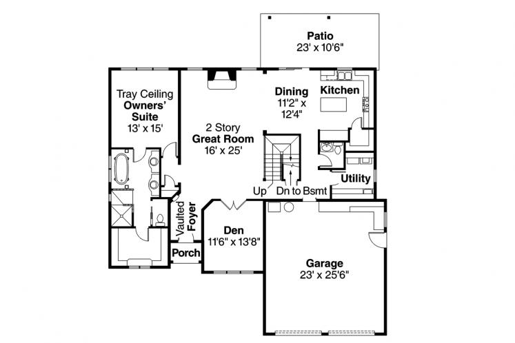 Southern House Plan - Heartison 24998 - 1st Floor Plan