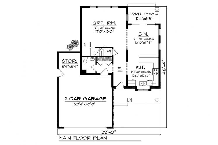 Traditional House Plan -  25163 - 1st Floor Plan
