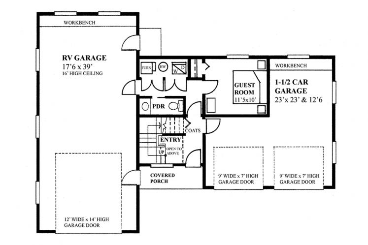 Traditional Garage Plan -  25174 - 1st Floor Plan