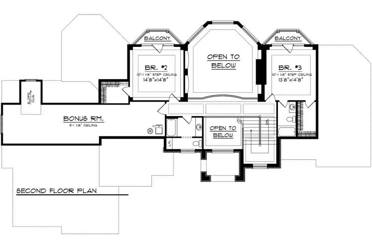 European House Plan -  25284 - 2nd Floor Plan