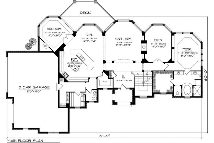 Country House Plan -  25284 - 1st Floor Plan